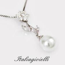 Principesca Collana Donna Argento 925 rodiato Oro Bianco con Perla e Brillanti