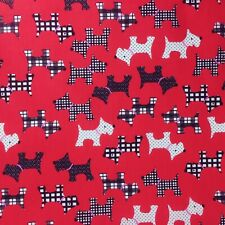 Polycotton Fabric Brand New Terrier PINK SCOTTIE DOG Material CRAFTS