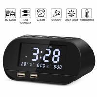 Digital Alarm Clock LED Display FM Radio with USB Charger Ports & Battery Backup