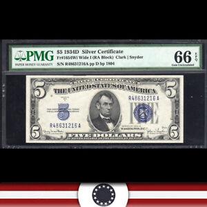 1934-D $5 SILVER CERTIFICATE NOTE PMG 65 EPQ Fr 1654 Wi  R48631216A