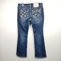 Miss Me Womens Easy Boot Jeans Sz 27 Embellished 31x31 Mid Rise Stitched Medium