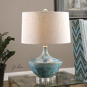 CHASIDA BLUE TIE DYED CERAMIC GLAZE TABLE LAMP CRYSTAL DETAIL LIGHT UTTERMOST