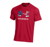 Under Armour Men's United States Marines Shirt Flag Marine Corp Red tee T-shirt