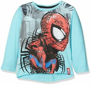 Spiderman Marvel Long Sleeve Cotton T-Shirt for Boys 3 Years - light blue