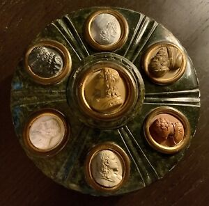 Antique Italian Grand Tour Carved Cameo & Serpentine Marble Inkwell c.1840-50