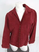 LIVE A LITTLE WOMENS RED SUEDE LEATHER JACKET SIZE LARGE