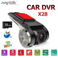 Anytek X28 FHD 1080P Car DVR 150° Lens Camera WiFi ADAS G-sensor Dashcam+16GB TF