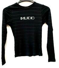 Mudd Top Shirt Rhinestones Black biker jewel striped long sleeve scoop neck NWT