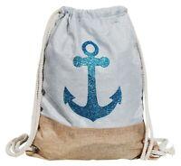 Damen Rucksackbeutel Textil 41x33 Blau Beige Anker Marine Turnbeutel X3600182003