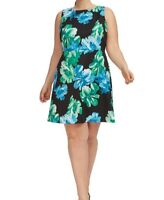Tahari Sleeveless Scuba Knit Fit And Flare Floral Dress Plus Size 22W