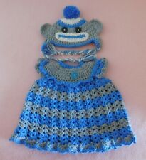 """American Girl Doll Clothes Blue Sock Monkey Dress & Hat Fit American Girl 18"""""""