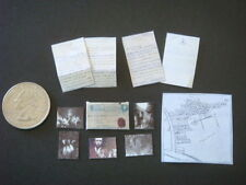 Miniature 1917 Cottingley Fairies Map, Letter and Pictures Set - Dollhouse 1:12