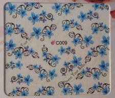Water Decals - Flower HeadsBlue + Scrolls DIY Nail Stickers Art Bling-  C009UK