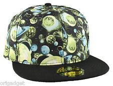 CAP RAP HIP HOP BASEBALL CAP FLAT BRIM HAT UNIVERSE PLANETS green