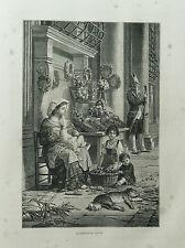 1877: ROMA,VENDITRICE DI FIORI AMBULANTE IN STRADA.Xilo o in Passepartout ETNA
