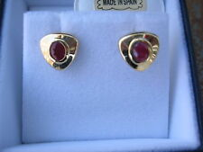 14 KT YELLOW Gold w/ Bezel Set Genuine Faceted Ruby Gemstone Earring NEW
