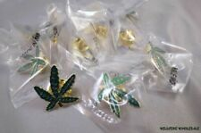WHOLESALE LOT OF 12 MARIJUANA LEAF PINS lapel tie tack Pot 420 Weed green gold