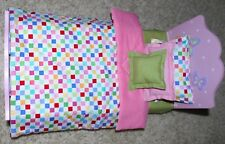 "Sheet Reversible Comforter 3 Pillow For 15"" and 18"" American Girl Doll Accessory"