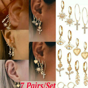 7 Pairs/ Set Vintage gold Crystal Dangle hoops with charms leaf cross heart eye