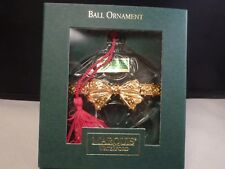 Waterford Crystal Marquis Christmas Ball Ornament Gold Bow red  Tassel Germany