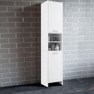 """Bathroom 11.8""""W x 11.8""""D x 72.8""""H Utility Storage Cabinet Cupboard Wood Tallboy"""