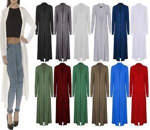 New Womens Long Sleeve Open Front Long Length Boyfriend Ladies Maxi Cardigan Top