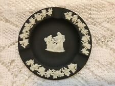 Wedgwood 4.25 Jasperware Black Basalt Round Aurora Ashtray Greek Vintage England