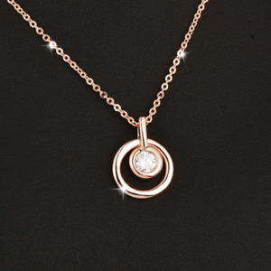 Double Circle Solitaire Crystal Pendant - Three Colourways - New In Gift Box