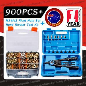 900pcs Rivet Nut Rivnut Assortment Kit & Rivet Nuts Gun Riveting Tool Kit M3-M12