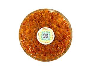 Yellow Jasper Orgone Tea Coaster Flower of Life Round 3.5 Inch Diameter
