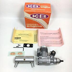 Vintage K&B 6.5 cc 40 FI RE RC Model Airplane Engine, MUFFLER, Perry CARBURETOR