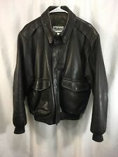 LL Bean Goatskin Leather Bomber Coat Jacket Mens Large Brown Thinsulate USA
