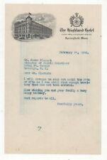 Hotel Stationary For The  Highland Hotel, Springfield, Mass 1940