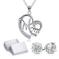 White Gold Plated Mom Heart Charm Pendant with Swarovski Crystals