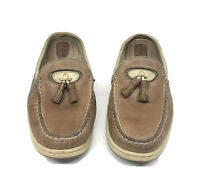 Sperry Top-Spider Brown Leather Mules Women's Size 8.5 M Boat Deck Shoes Slides