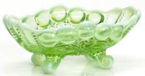 Jam Mint Nut Dish - Eyewinker - Green Opalescent Glass - Mosser USA