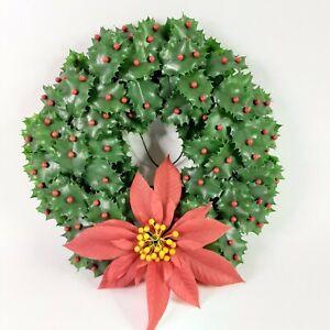 "Vintage 1960s Plastic Christmas Wreath Holly Berries Poinsettia 15"" Diameter"