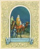 VINTAGE CHRISTMAS PALE GREEN BLUE WISE MEN MAGI CAMEL STAR OF BETHLEHEM ART CARD