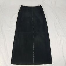"""Betty Barclay Black Suede Leather Long Skirt Stitch Design Size UK 12 37"""" Long"""