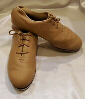 BLOCH Shockwave 02 Tap Shoes Leather Lace-up Beige Girls size 7.5M