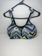 Victoria Secret Pink Ultimate Push-Up Front-zip Strappy Sports Bra Blue And Gray