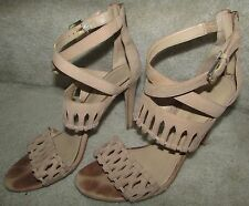 """Womens IVANKA TRUMP """"ITDRITA"""" Beige Leather Ankle Strap Shoes Size 8.5M"""