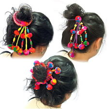Set of 3 styles of Ponytail Holder Colourful Pom Poms Scrunchie Hair Tie G100