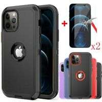 For iPhone 11/12/12 Pro Max Hybrid Shockproof Defender Case Cover+Tempered Glass