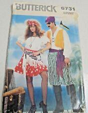 6731 Butterick Mens Ladies Pirate Costume Sewing Pattern Top Pants Skirt SZ XS-L