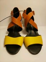 Isaac Mizrahi Live! BRAND NEW Size 6 Heels Shoes Yellow Brown tags Women Leather