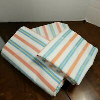Vintage Sears Roebuck Stripped Twin Sheet Set 1 Flat, 1 Fitted, 1 Pillowcase