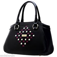 Serenade Black Woven Mosaic Genuine Leather Handbag (SH30-7180)