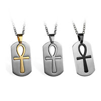 Men's Stainless Steel Egyptian Ankh Cross Key of Nile Dog Tag Pendant Necklace