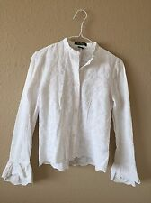 Ralph Lauren Women's 4 Cotton White Button Down Lace Eyelet Embroidered Blouse C